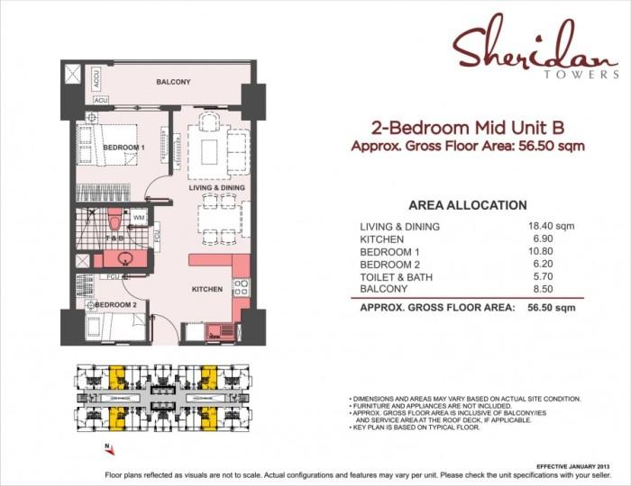 2-Bedroom Mid Unit B 56.7sqm