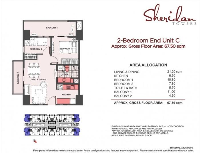 2-Bedroom End Unit C 67.5sqm