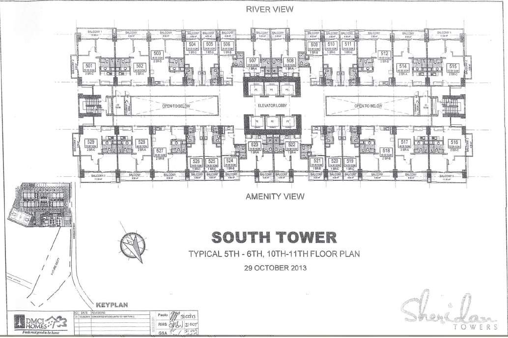 Sheridan Towers South Tower 5th 6th 10th 11th Floor Plan