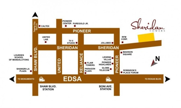 Sheridan Towers Location Map